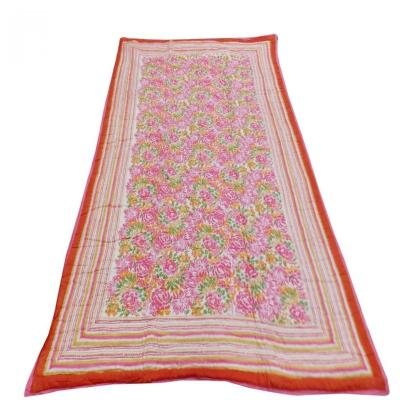 Indian Hand Block Print Pink Color Single Bed Quilt Floral Design Warm Blanket
