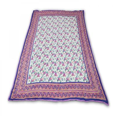 Indian Hand Block Printed Double Bed Cotton Quilt Blanket Blue Color