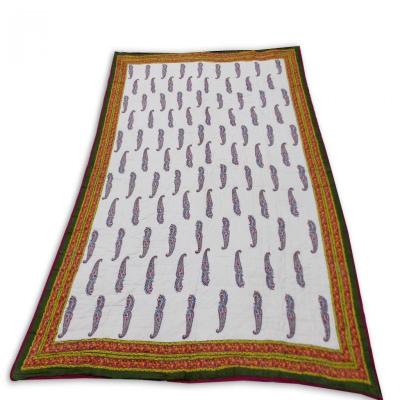 Indian Sanganer Hand Block Printed Double Bed Cotton Quilt Blanket Brown Color
