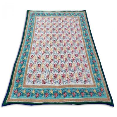 Indian Sanganer Hand Block Print Double Bed Cotton Quilt Blanket Green Color