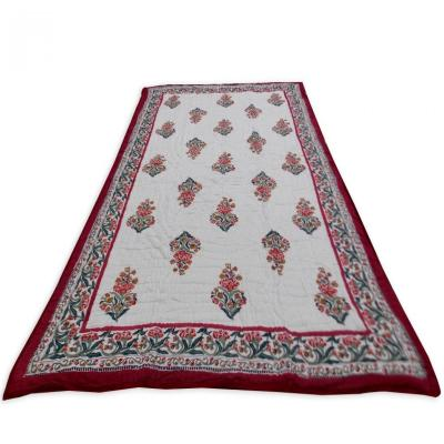 Indian Hand Block Print Red Color Double Bed Quilt Floral Design Warm Blanket