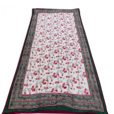 Indian Hand Block Print Green Color Double Bed Quilt Floral Design Warm Blanket