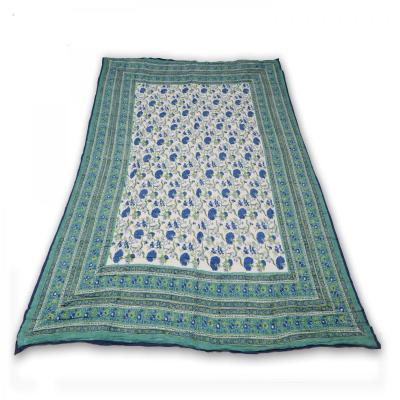 Indian Hand Block Printed Double Bed Cotton Quilt Blanket Green Color