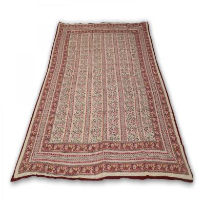 Indian Hand Block Printed Double Bed Cotton Quilt Blanket Brown Maroon Color