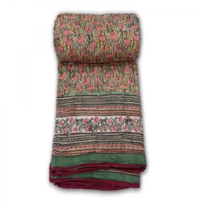 Indian Hand Block Printed Double Bed Cotton Quilt Blanket Multi Color
