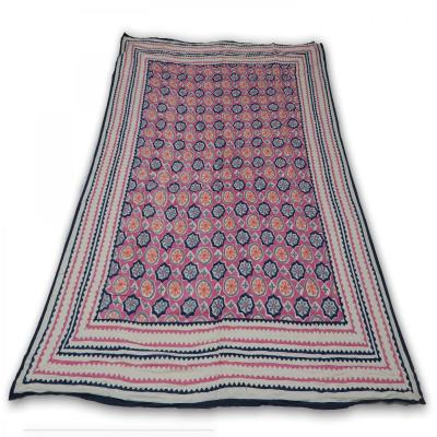 Indian Hand Block Printed Double Bed Cotton Quilt Blanket Pink Color