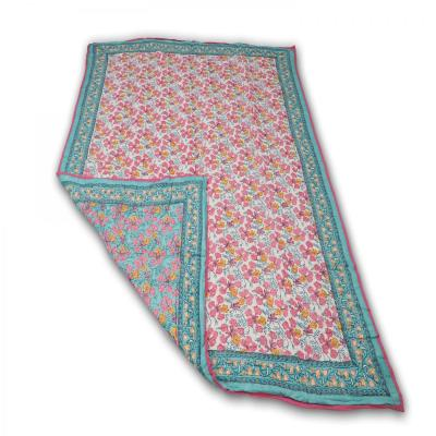 Indian Hand Block Printed Double Bed Cotton Quilt Blanket Pink Turquoise Color
