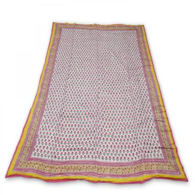 Indian Hand Block Printed Double Bed Cotton Quilt Blanket Yellow Color