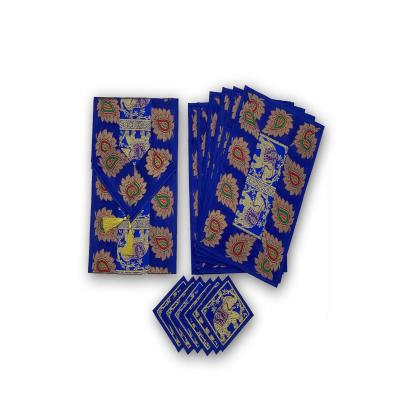 Indian Hand Made Silk Table Runner Elephant Design Blue Color