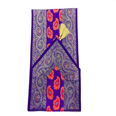 Indian Hand Made Silk Table Runner Floral Design Purple Color