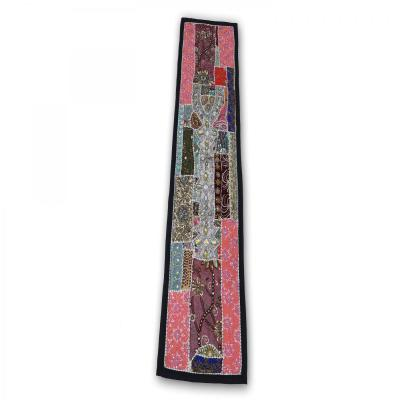 Indian Handmade Patch Work Vintage Line Tapestry Pink Color Kitchen Table Runner Assorted