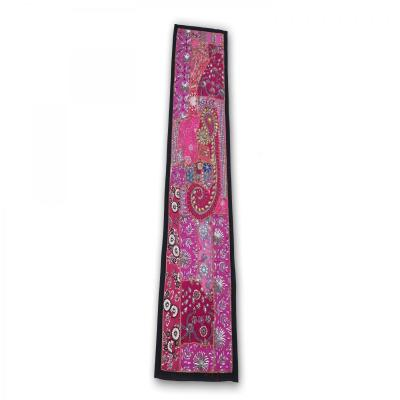 Indian Handmade Patch Work Vintage Line Tapestry Kitchen Table Runner Purple Color Assorted