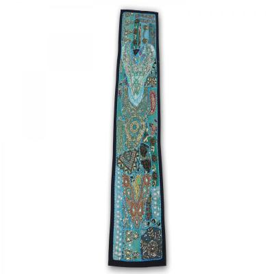 Indian Handmade Patch Work Vintage Line Tapestry Kitchen Table Runner Turquoise Color Assorted