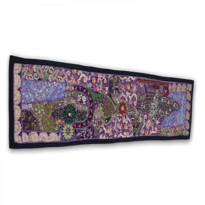 Indian Handmade Patch Work Vintage Line Tapestry Purple Color Kitchen Table Runner Assorted