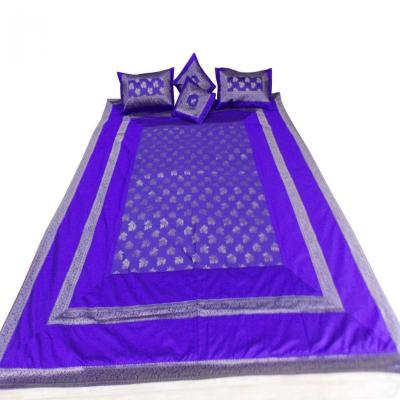 Double Bed Silk Bed Cover Bed Sheet Brocade Design Blue Color