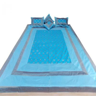 Double Bed Silk Bed Cover Bed Sheet Brocade Design Sky Blue Color