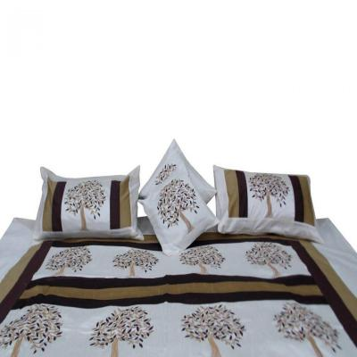 Indian Silk Embroidered Tree of Life Design White Color Double Bed Cover