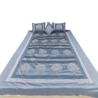 Indian Silk Embroidered Tree of Life Design Gray Color Double Bed Cover