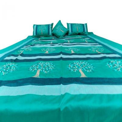 Indian Silk Embroidered Tree of Life Design Turquoise Color Double Bed Cover