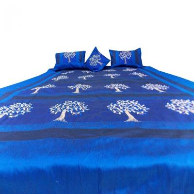 Indian Silk Embroidered Tree of Life Design Blue Color Double Bed Cover