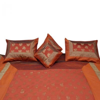 Double Bed Silk Bed Cover Bed Sheet Brocade Design Orange Color