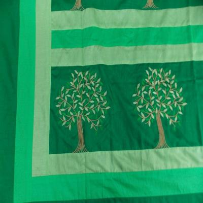 Indian Silk Embroidered Tree of Life Design Green Color Double Bed Cover