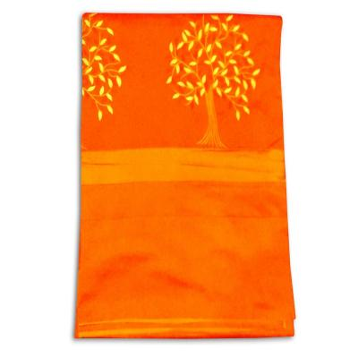 Indian Silk Embroidered Tree of Life Design Orange Color Double Bed Cover
