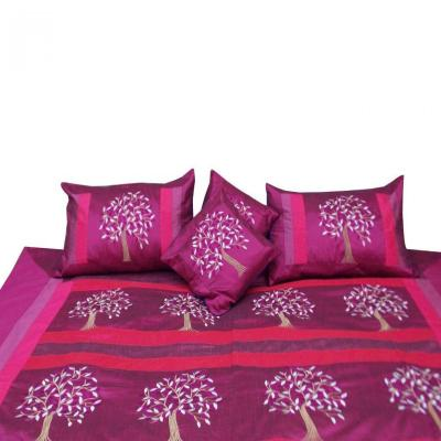 Indian Silk Embroidered Tree of Life Design Violet Color Double Bed Cover