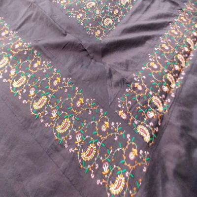 Indian Velvet Handmade Brocade Design Bed Cover Luxury King Size Bedspread Brown Color