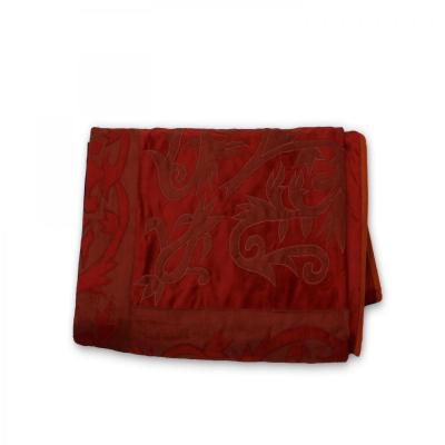 Indian Velvet Handmade Brocade Design Bed Cover Luxury King Size Bedspread Wine Red Color