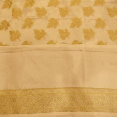 Indian Hand Made Indian Silk Brocade Design Cream Color Double Bed Cover