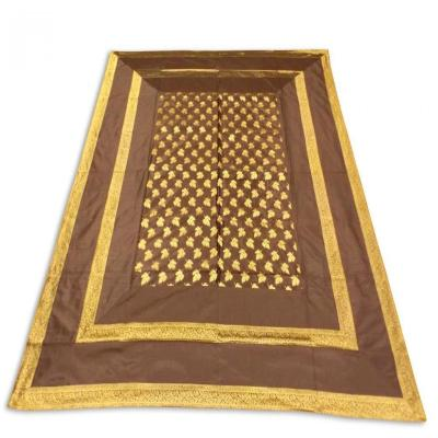 Handmade Indian Silk Brocade Design Brown Color Double Bed Cover