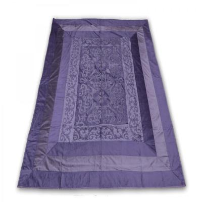 Indian Velvet Handmade Brocade Design Bed Cover Luxury King Size Bedspread Violet Color