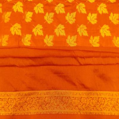 Indian Hand Made Silk Brocade Design Orange Color Double Bed Cover
