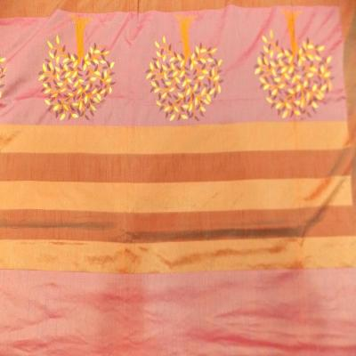 Indian Silk Embroidered Tree of Life Design Purple Color Double Bed Cover