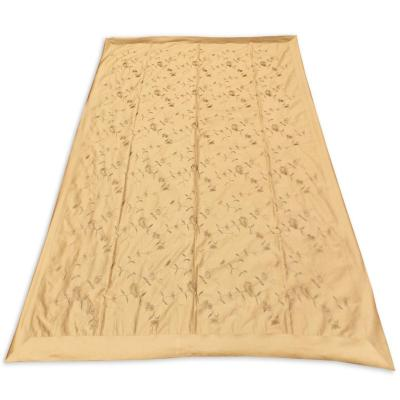 Indian Silk Floral Embroidered Work White Color Double Bed Cover