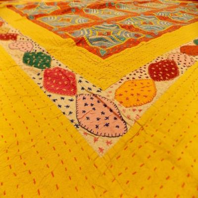 Indian Handmade Jipsy Work Cotton Double Bed Cover
