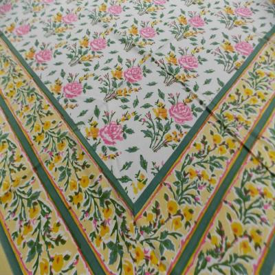 Indian Hand Block Printed Floral Design Green Color Bed Sheet, Wall Hanging Tapestry