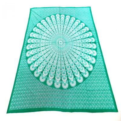 New Indian Screen Print Mandala Design Green Turquoise Color Cotton Flat Bed Sheet