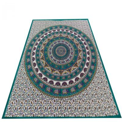 New Indian Screen Print Mandala Design Turquoise Color Cotton Flat Bed Sheet