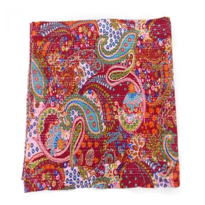 Indian Cotton Floral Print Kantha Work Double Bed Cover Wall Hanging