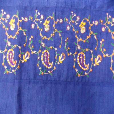 Indian Embroidered Paisley Floral Design Blue Color Duvet Cover