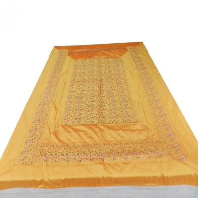 Indian Embroidered Paisley Floral Design Golden Color Duvet Cover