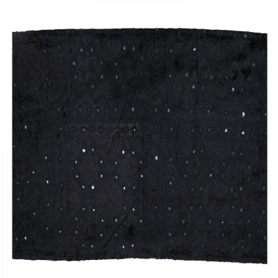 Indian Silk Hand Embroidered Chakra Design Cotton Bed Cover Black Color