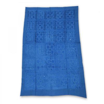 Indian Silk Hand Embroidered Chakra Design Cotton Bed Cover Blue Color