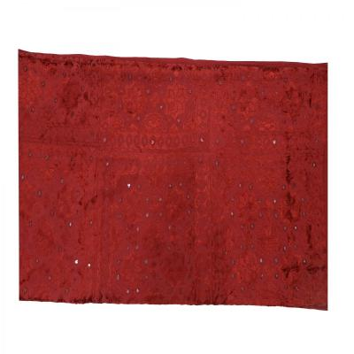 Indian Silk Hand Embroidered Chakra Design Cotton Bed Cover Maroon Color
