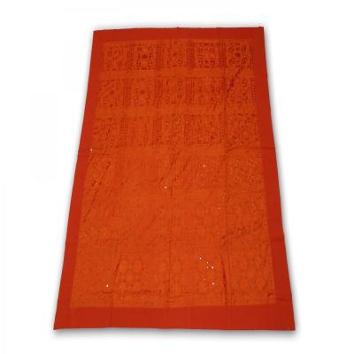 Indian Silk Hand Embroidered Chakra Design Cotton Bed Cover Orange Color