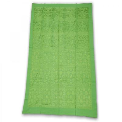 Indian Silk Hand Embroidered Chakra Design Cotton Bed Cover Green Color