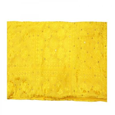 Indian Silk Hand Embroidered Chakra Design Cotton Bed Cover Yellow Color