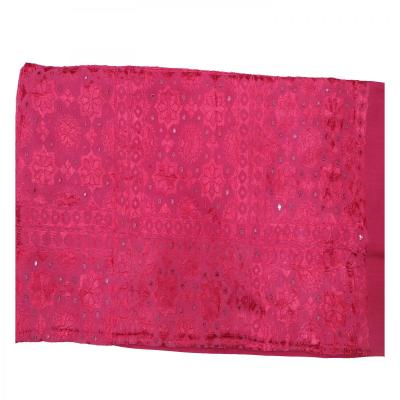Indian Silk Hand Embroidered Chakra Design Cotton Bed Cover Pink Color